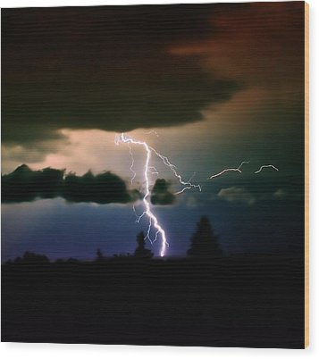 Lightning Over The Plains I Wood Print by Ellen Heaverlo