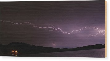 Lightning Streak Wood Print by Alexander Spahn
