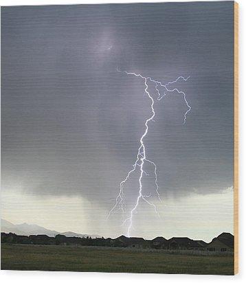 Lightning Strike Wood Print by Bill Dunford