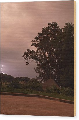 Lightning Strike In Mississippi Wood Print by Joshua House