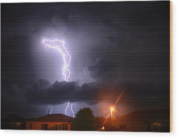 Lightning Strikes Wood Print by Ronald T Williams
