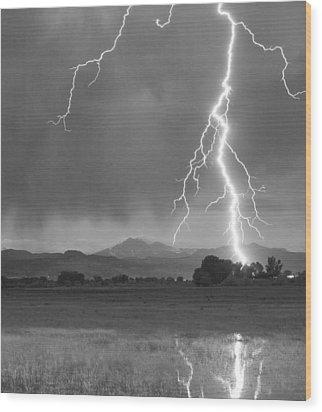 Lightning Striking Longs Peak Foothills 5bw Crop Wood Print by James BO  Insogna