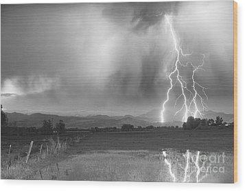 Lightning Striking Longs Peak Foothills 6bw Wood Print by James BO  Insogna