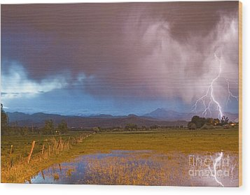 Lightning Striking Longs Peak Foothills 7 Wood Print by James BO  Insogna