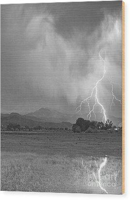 Lightning Striking Longs Peak Foothills 7cbw Wood Print by James BO  Insogna