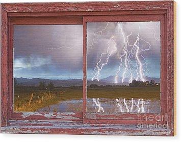Lightning Striking Longs Peak Red Rustic Picture Window Frame Wood Print by James BO  Insogna