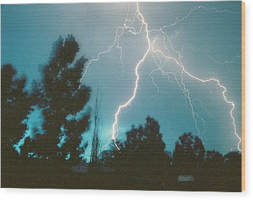 Lightning Trees Wood Print