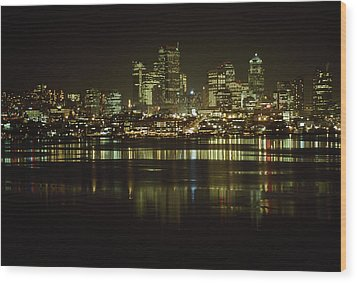 Lights Of Downtown Seattle Reflect Wood Print by Gordon Wiltsie