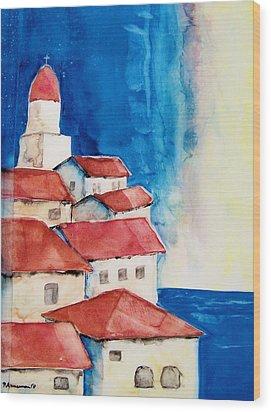 Ligurian Coaast Wood Print by Regina Ammerman