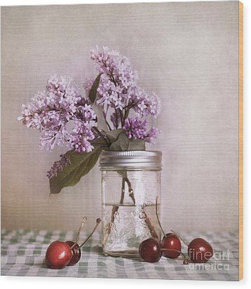 Lilac And Cherries Wood Print by Priska Wettstein