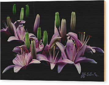 Lilies At Midnight Wood Print by John Selmer Sr