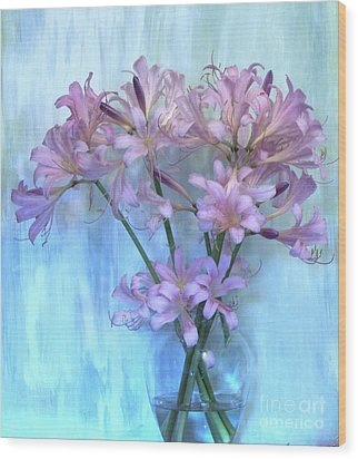 Lilies Pink Wood Print by Marsha Heiken