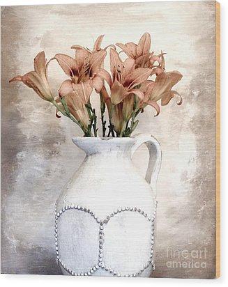 Lilies Pitcher Wood Print by Marsha Heiken