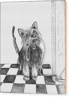 Lillie By The Door Wood Print by Carol Allen Anfinsen
