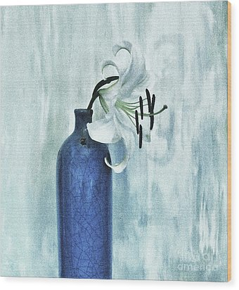 Lily In Blue Wood Print by Marsha Heiken