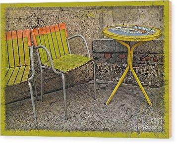 Lime Chairs Wood Print by Joan  Minchak