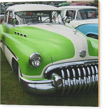 Lime Green 1950s Buick Wood Print by Kym Backland