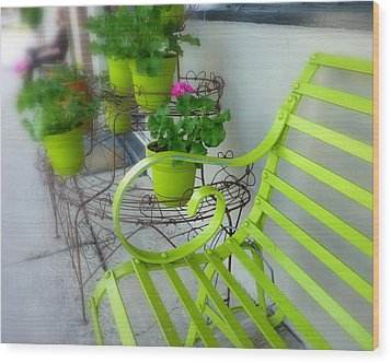 Lime Green Wood Print by Cindy Wright