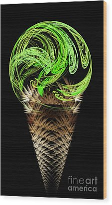 Lime Ice Cream Cone Wood Print by Andee Design