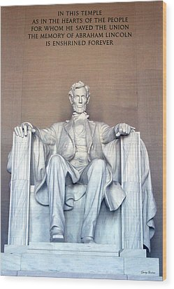 Wood Print featuring the photograph Lincoln Memorial 001 by George Bostian