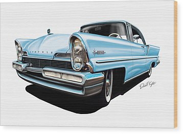 Lincoln Premier In Baby Blue Wood Print by David Kyte