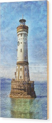 Lindau Lighthouse In Germany Wood Print by Nikki Marie Smith