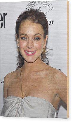 Lindsay Lohan Wearing Chanel Earrings Wood Print by Everett