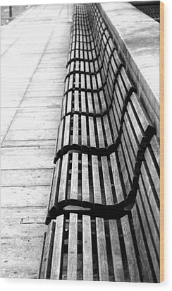 Line Of Empty Benches Wood Print by Christoph Hetzmannseder