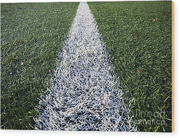 Line On Sports Field Wood Print by Paul Edmondson