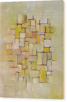 Line Series Yellow Basket Weave Wood Print