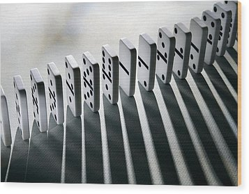 Lined Up Dominoes Wood Print by Victor De Schwanberg