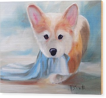 Linus And His Blanket Wood Print by Mary Sparrow