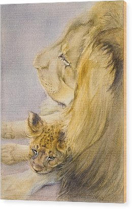 Wood Print featuring the painting Lion And Cub by Bonnie Rinier