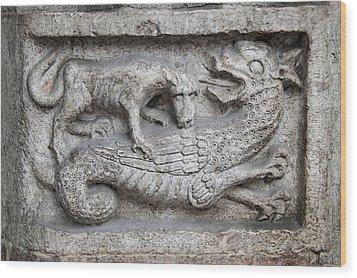 Lion And Dragon Wood Print by Raffaella Lunelli