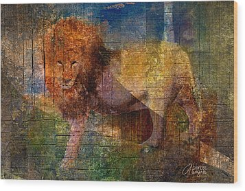 Lion Wood Print by Arline Wagner