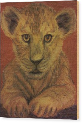 Wood Print featuring the pastel Lion Cub by Christy Saunders Church