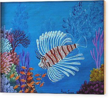 Lion Fish Wood Print by Fram Cama