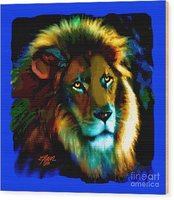 Wood Print featuring the painting Lion Icon by Elinor Mavor