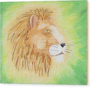 Lions Head Wood Print by Mark Schutter