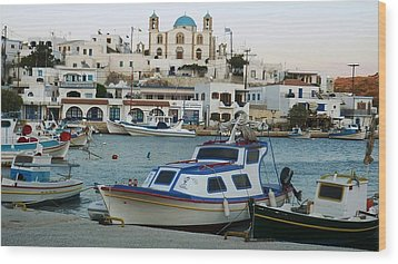 Wood Print featuring the photograph Lipsi Harbour by Therese Alcorn