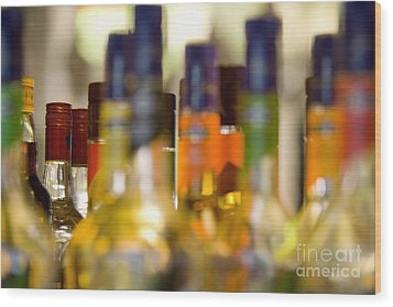 Liquor Bottles Wood Print by Shannon Fagan