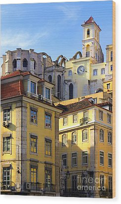 Lisbon Buildings Wood Print by Carlos Caetano