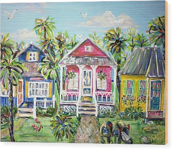 Little Beach Houses Wood Print by Doralynn Lowe