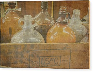 Little Brown Jugs Wood Print by Jan Amiss Photography