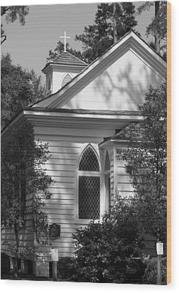 Little Chapel In The Woods In Black And White Wood Print by Suzanne Gaff