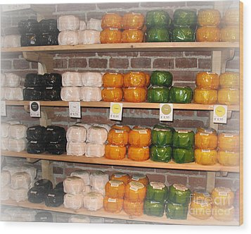 Little Cheeses On A Shelf In Amsterdam Wood Print by Trude Janssen