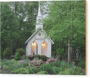 Little Church In The Mountains Wood Print