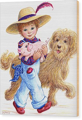 Wood Print featuring the drawing Little Farm Boy by Dee Davis