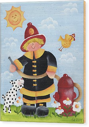 Little Fireman Wood Print by Pat Olson