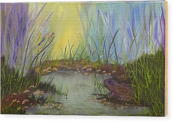 Little Frog Pond Wood Print